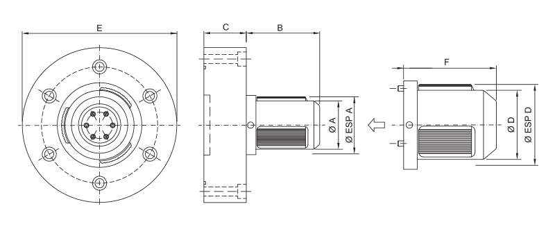 CK-PM/SM - Single Diameter Modular Pneumatic Core Chuck - Schematic