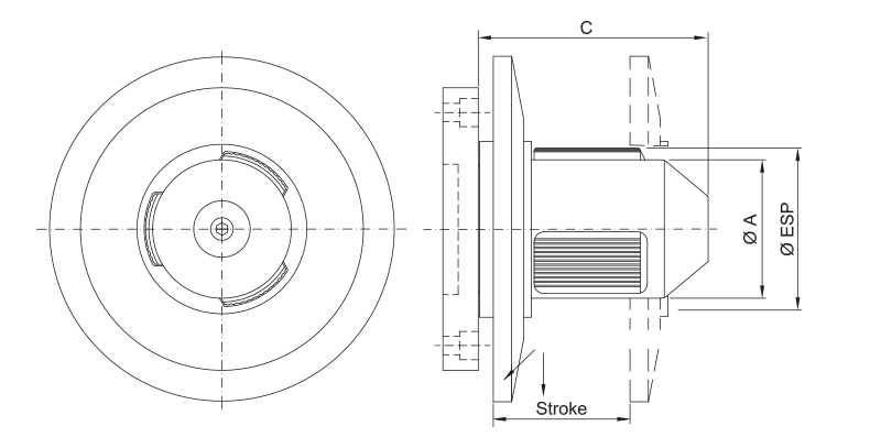 CK-SF - Single Diameter Core Chuck with Flange - Schematic