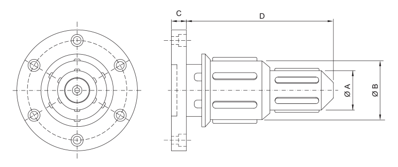 CK-TM/D - Double Diameter Side Load Core Chuck - Schematic